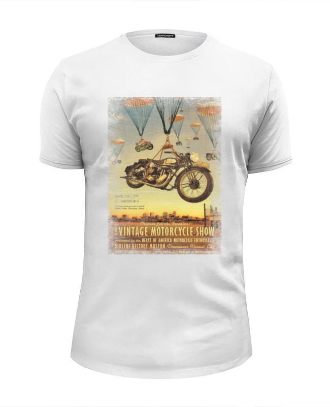 Футболка Wearcraft Premium Slim Fit Printio Vintage motorcycle show vintage floral fit and flare dress