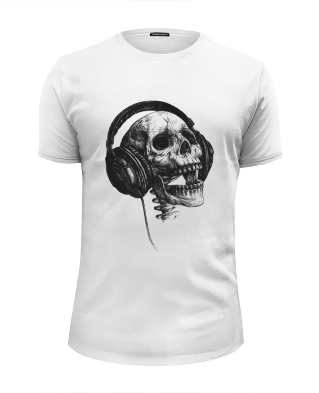 Футболка Wearcraft Premium Slim Fit Printio Череп в наушниках футболка wearcraft premium slim fit printio череп в розах