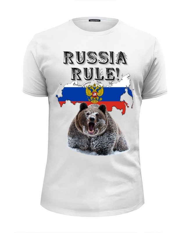 Футболка Wearcraft Premium Slim Fit Printio Russia rule!, типа стрэйч футболка стрэйч printio слоники