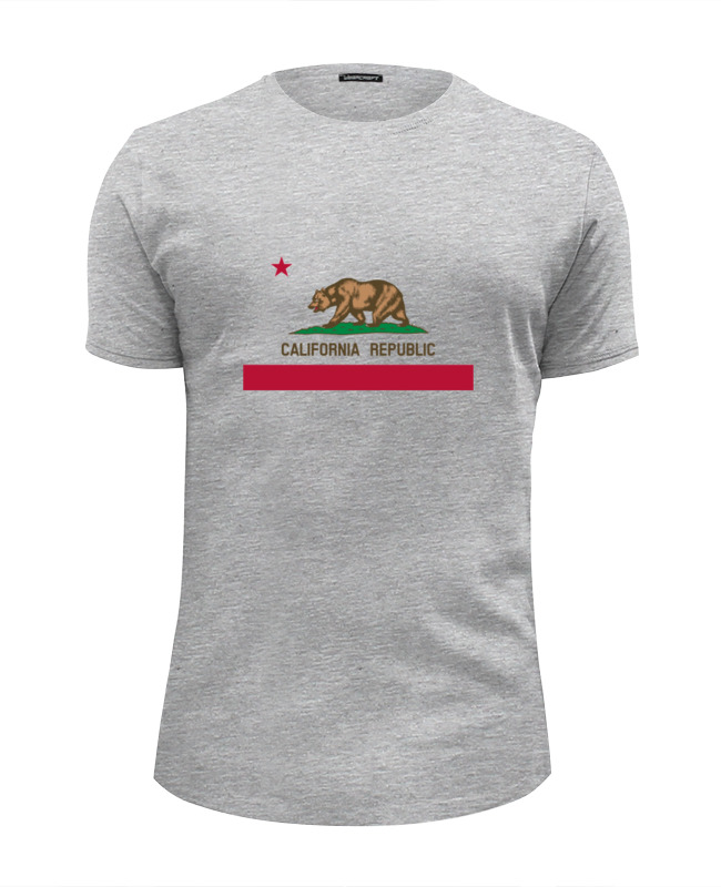 Футболка Wearcraft Premium Slim Fit Printio Калифорния флаг футболка print bar флаг азербайджана