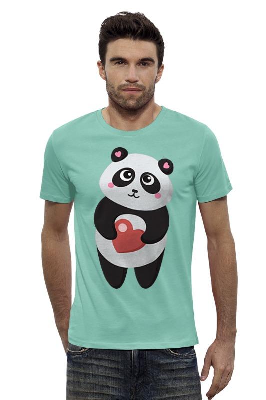 Футболка Wearcraft Premium Slim Fit Printio Панда с сердечком позиционеры для сна candide позиционер с подголовником воздухопроницаемая панда air