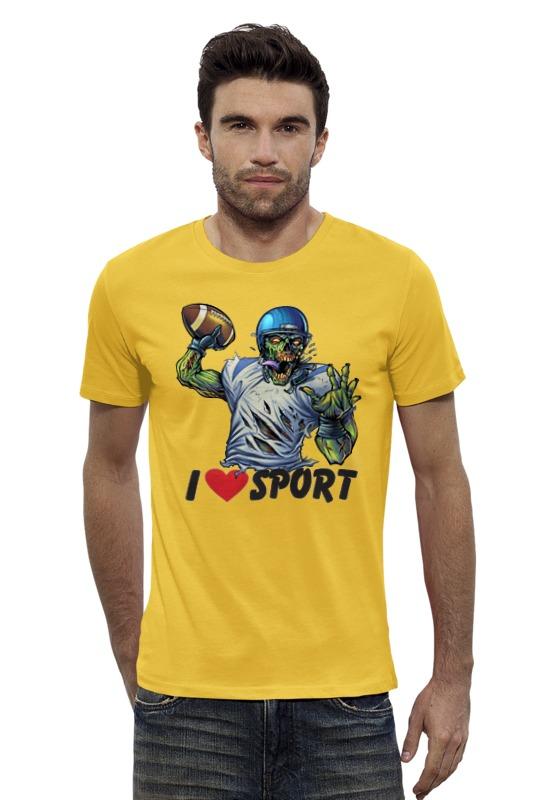 Футболка Wearcraft Premium Slim Fit Printio Зомби спорт - я люблю спорт