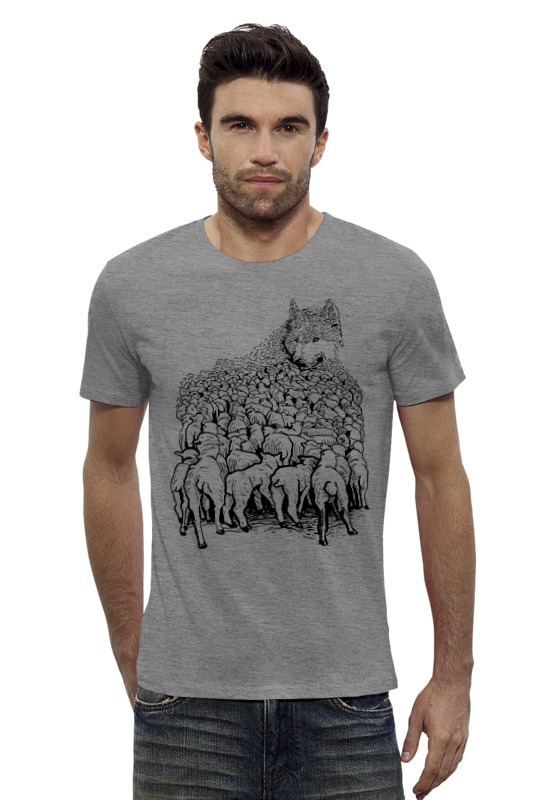 Футболка Wearcraft Premium Slim Fit Printio Волк в овечьей шкуре футболка wearcraft premium printio волк в овечьей шкуре