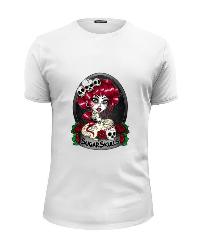 Футболка Wearcraft Premium Slim Fit Printio Девушка с черепами футболка wearcraft premium slim fit printio белая стильная с рисунком чайки полосатая девушка