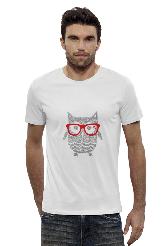 Футболка Wearcraft Premium Slim Fit Printio Сова-хипстер футболка wearcraft premium slim fit printio ночная сова