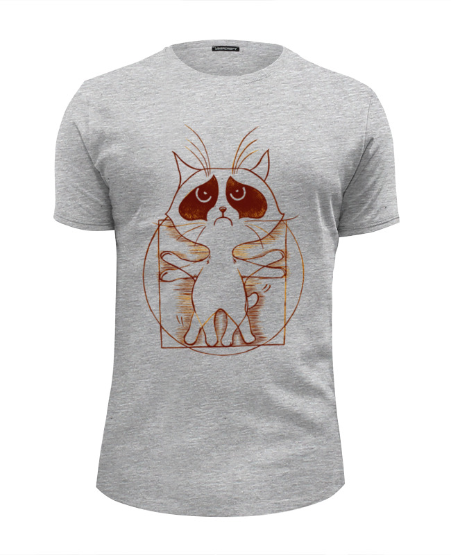 Футболка Wearcraft Premium Slim Fit Printio Витрувианский кот футболка wearcraft premium slim fit printio радужный кот