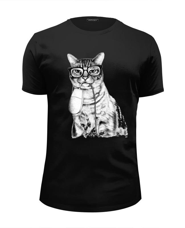 Футболка Wearcraft Premium Slim Fit Printio Кот-хипстер и мышь футболка wearcraft premium slim fit printio кот хипстер