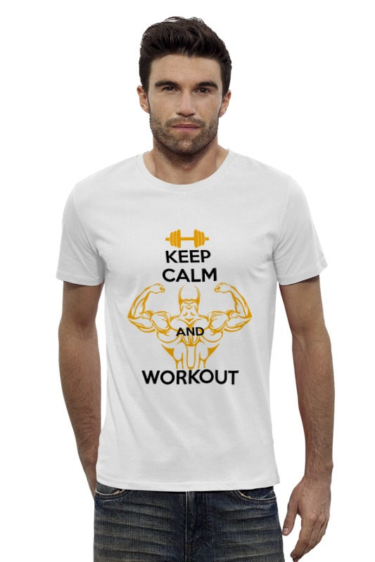 Футболка Wearcraft Premium Slim Fit Printio Keep calm and workout футболка wearcraft premium printio keep calm