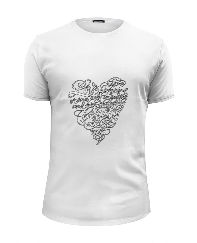 Футболка Wearcraft Premium Slim Fit Printio Love lettering (сердце с надписью) футболка wearcraft premium slim fit printio футболка sunfamily one love black