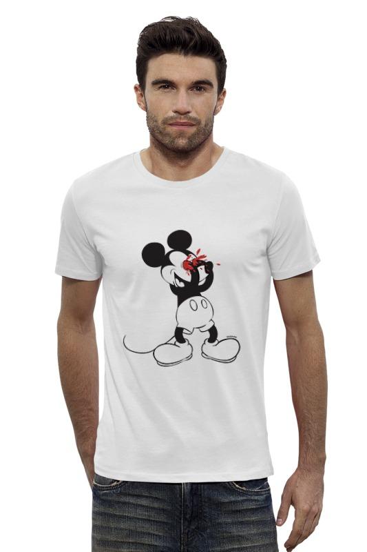 Футболка Wearcraft Premium Slim Fit Printio Mickey mouse bloody eyes on white футболка и шорты mickey mouse 12мес красный