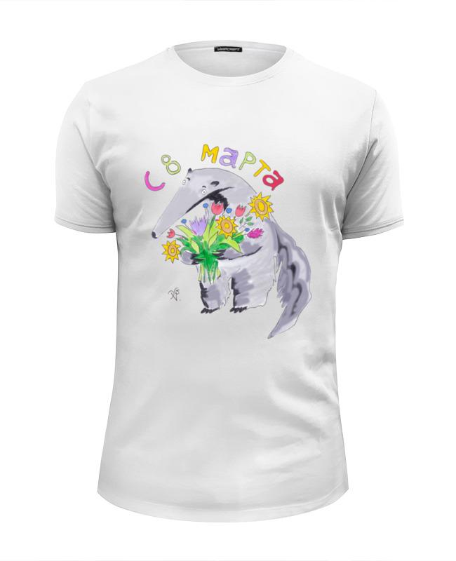Футболка Wearcraft Premium Slim Fit Printio Муравьед с цветами майка классическая printio муравьед с цветами