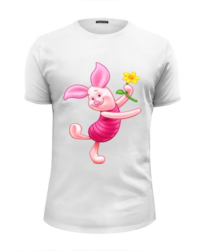 Футболка Wearcraft Premium Slim Fit Printio Любимый танцующий -пятачок. цветочок лонгслив printio любимый танцующий пятачок цветочок