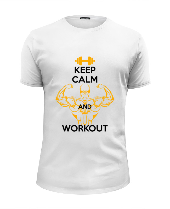 Футболка Wearcraft Premium Slim Fit Printio Keep calm and workout футболка wearcraft premium slim fit printio keep calm and listen to nirvana