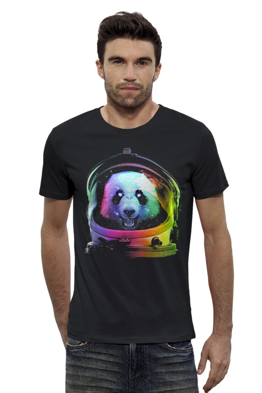 Футболка Wearcraft Premium Slim Fit Printio Панда космонавт футболка wearcraft premium slim fit printio космонавт