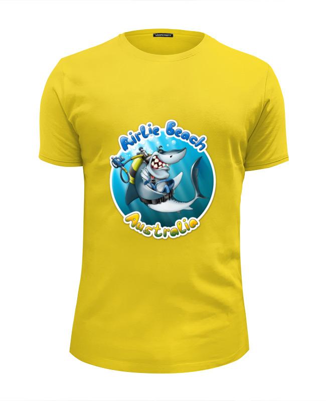Футболка Wearcraft Premium Slim Fit Printio Акула с аквалангом футболка wearcraft premium slim fit printio акула shark