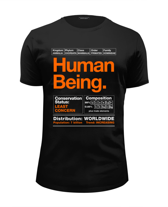Футболка Wearcraft Premium Slim Fit Printio Human being being human the road