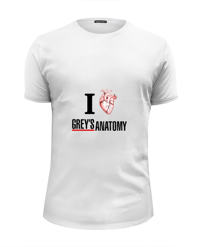Футболка Wearcraft Premium Slim Fit Printio Люблю greys anatomy стоимость