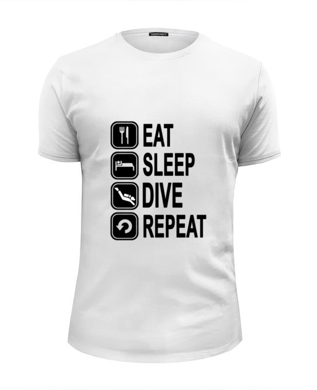 Футболка Wearcraft Premium Slim Fit Printio Eat sleep dive 45mm golden plated parnis watch case sapphire glass fit 6498 6497 eat movement50