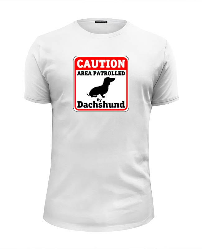 Футболка Wearcraft Premium Slim Fit Printio Caution dachshund patrole майка классическая printio caution dachshund patrole