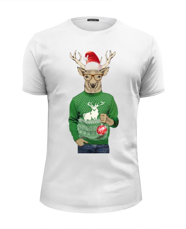 Футболка Wearcraft Premium Slim Fit Printio Олень новогодний в свитере и очках с шариком толстовка wearcraft premium унисекс printio с олень новогодний в свитере