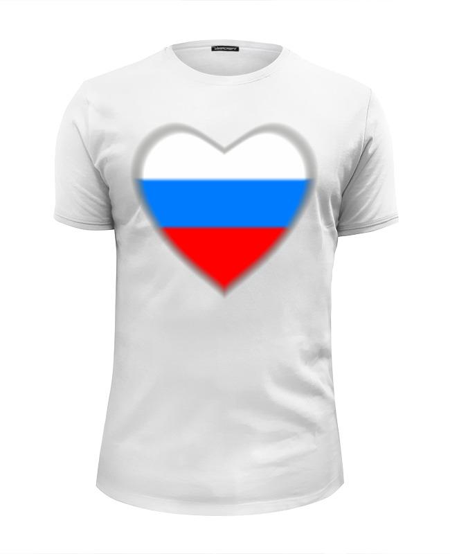 Футболка Wearcraft Premium Slim Fit Printio Россия в сердце бело-сине-красном велофутболка 16 011 j russia pro с лого россия с молнией s бело сине красная funkierbike