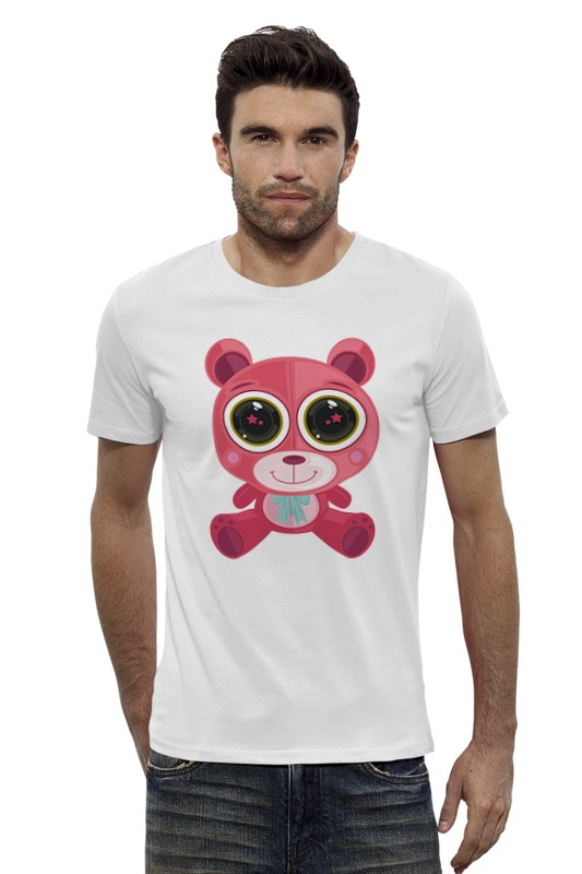 Футболка Wearcraft Premium Slim Fit Printio Розовый мишка (bear) футболка wearcraft premium slim fit printio мишка me to you