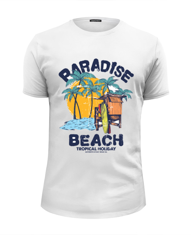 Футболка Wearcraft Premium Slim Fit Printio Paradise beach i want snow
