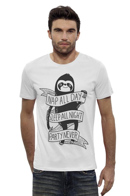 Футболка Wearcraft Premium Slim Fit Printio Ленивец футболка wearcraft premium slim fit printio война никогда не меняется