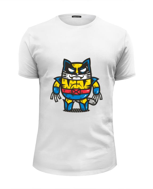 Футболка Wearcraft Premium Slim Fit Printio Росомаха-кот футболка wearcraft premium slim fit printio кот суши