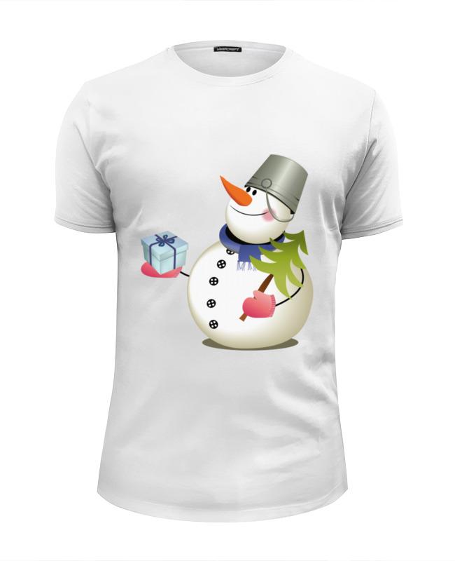 Футболка Wearcraft Premium Slim Fit Printio Снеговик с сувениром.с новым годом. футболка wearcraft premium slim fit printio снеговик