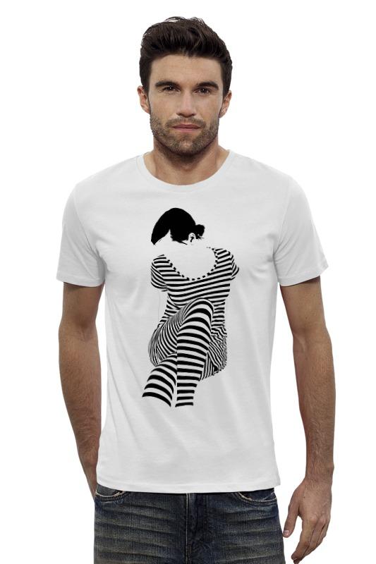 Футболка Wearcraft Premium Slim Fit Printio Белая,стильная,с рисунком,чайки,полосатая девушка футболка белая с рисунком catimini ут 00011632