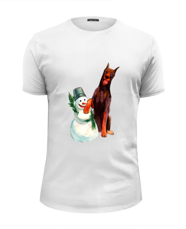 Футболка Wearcraft Premium Slim Fit Printio Забавная акварельная собака, символ 2018 года