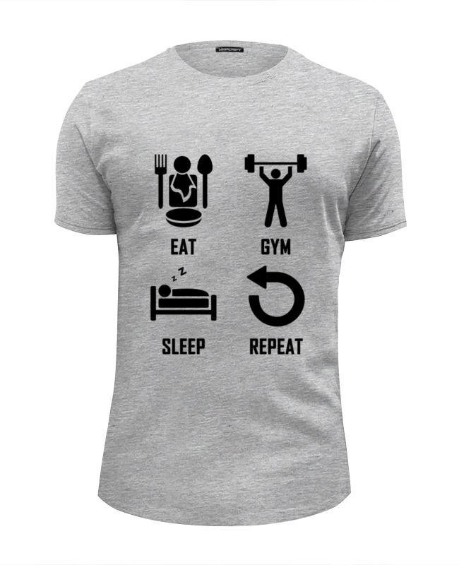 Футболка Wearcraft Premium Slim Fit Printio Eat. gym. sleep. repeat 45mm golden plated parnis watch case sapphire glass fit 6498 6497 eat movement50