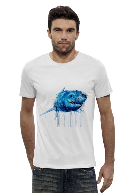 Футболка Wearcraft Premium Slim Fit Printio Акула серова м клад белой акулы