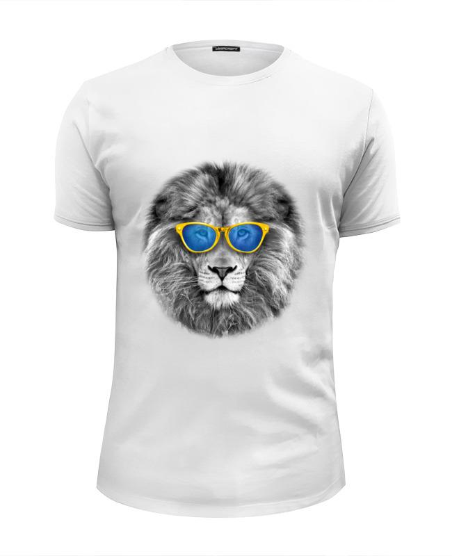 Футболка Wearcraft Premium Slim Fit Printio Стильный лев в золотых очках