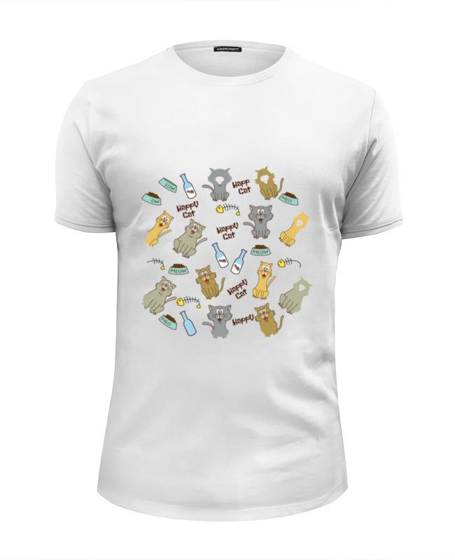 футболка wearcraft premium slim fit printio коты и кошки cats Футболка Wearcraft Premium Slim Fit Printio Счастливые коты