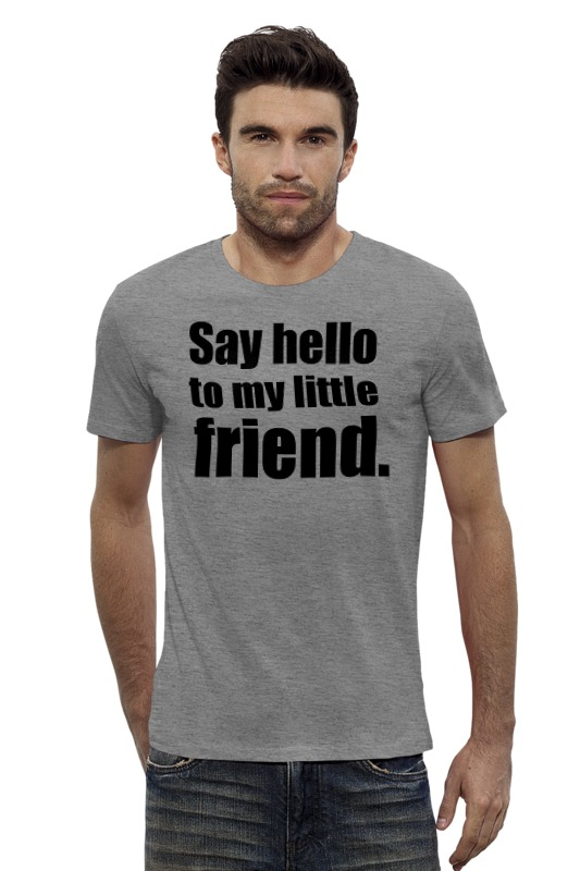 Футболка Wearcraft Premium Slim Fit Printio Say hello to my little friend / scarface стикеры glitz design hello friend 11 шт