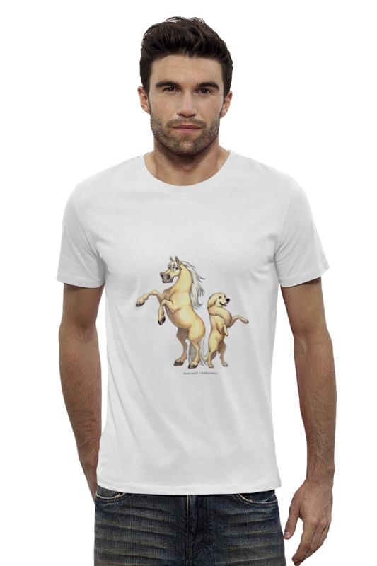 Футболка Wearcraft Premium Slim Fit Printio Соловый пони/золотистый ретривер купить щенка золотистый ретривер в симферополе