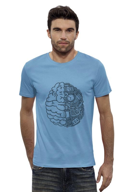 Футболка Wearcraft Premium Slim Fit Printio Два полушария радуга м фаза взламывая иллюзию реальности сверхвозможности человеческого мозга