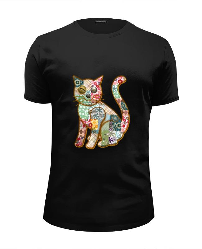Футболка Wearcraft Premium Slim Fit Printio Лоскутный кот футболка wearcraft premium slim fit printio кот суши