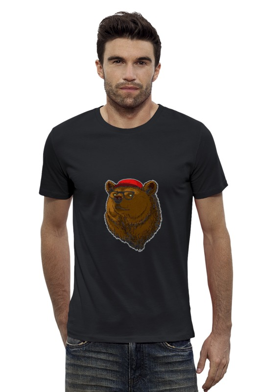 Футболка Wearcraft Premium Slim Fit Printio Медведь-хипстер футболка wearcraft premium slim fit printio модные браслеты