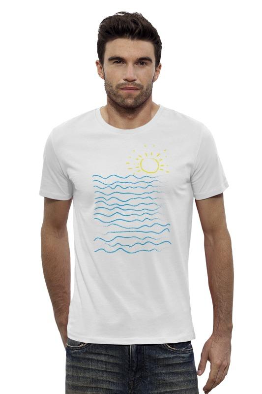 Футболка Wearcraft Premium Slim Fit Printio Море и солнце футболка wearcraft premium printio оранжевое солнце