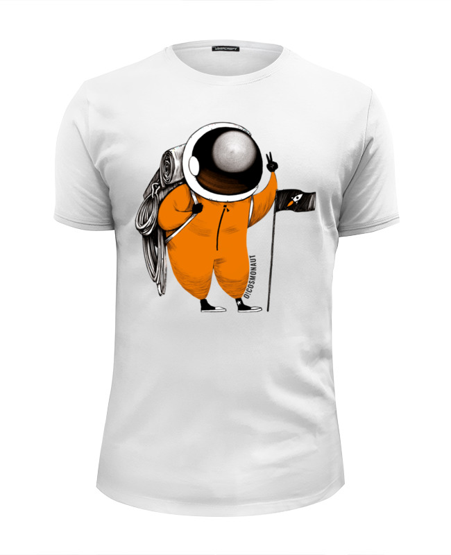 Футболка Wearcraft Premium Slim Fit Printio Космонавт покоряет горы рыжков в сияющий алтай горы люди приключения