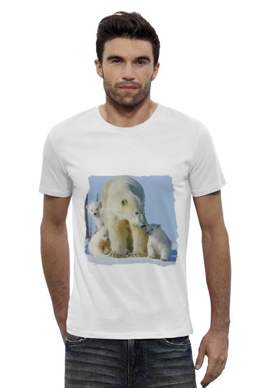 Футболка Wearcraft Premium Slim Fit Printio Белая медведица с медвежатами незамерзающая жидкость белая медведица купить в перми