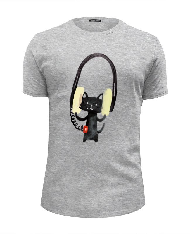 Футболка Wearcraft Premium Slim Fit Printio Кот в наушниках футболка wearcraft premium slim fit printio радужный кот