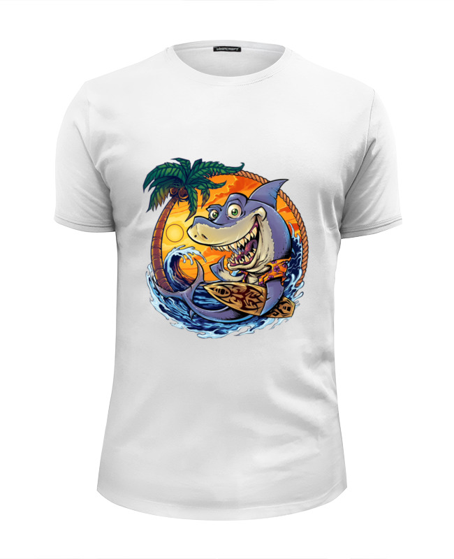 Футболка Wearcraft Premium Slim Fit Printio Акула на отдыхе футболка wearcraft premium slim fit printio акула shark