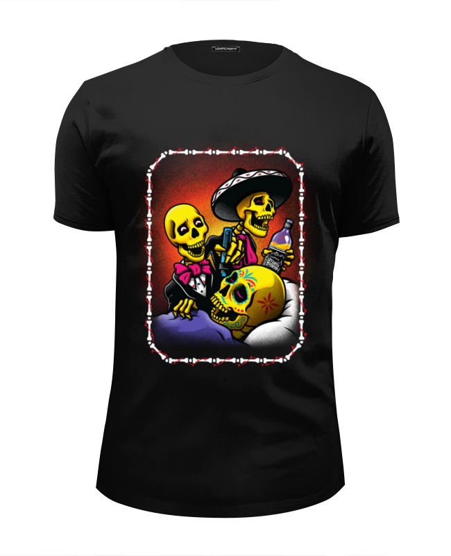 Футболка Wearcraft Premium Slim Fit Printio Mexican skull art кружка цветная внутри printio mexican skull art