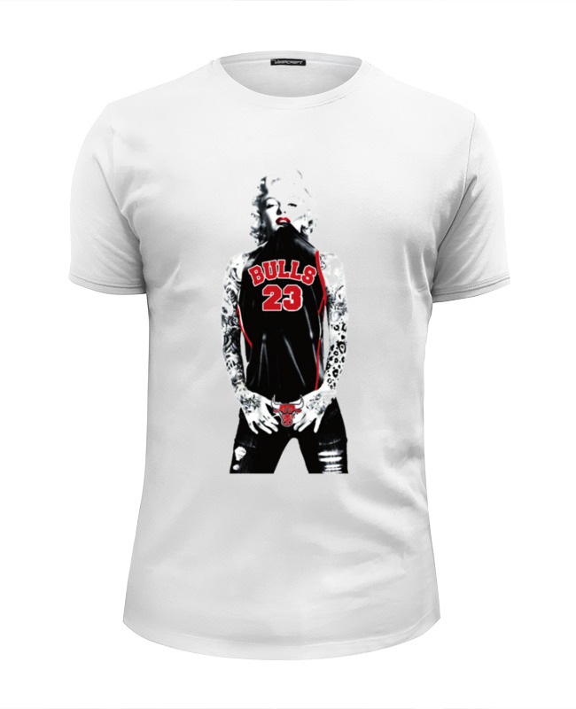 Футболка Wearcraft Premium Slim Fit Printio Chicago bulls marilyn monroe