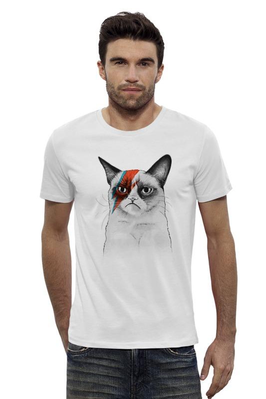 Футболка Wearcraft Premium Slim Fit Printio Grumpy cat x bowie