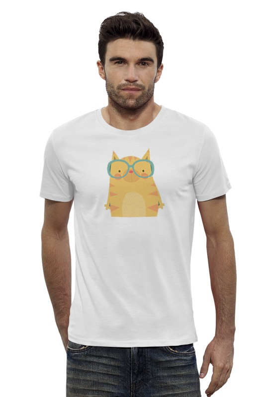Футболка Wearcraft Premium Slim Fit Printio Умная кошка купить бурманская кошка в омске